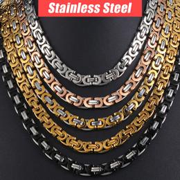 8043b458462b Cadena Collar para Hombre Acero Inoxidable Oro Plata Negro Bizantino Link  Mens Collares Cadenas Joyería de Moda