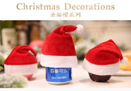 Mela di nuovo anno online-Mini Christmas Hat 16 * 13cm Apple Christmas Eve Cap bottiglia di vino Santa Cap Capodanno decorazioni natalizie