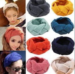 Wholesale Women Earmuffs - Weave Braid Twining headband Knit Warm earmuffs Stretchy hair band women headwear Bandanas winter Accessories Knitted Headwrap KKA4207