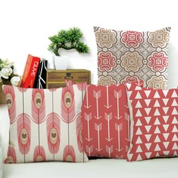 Wholesale peacock throw - Linen Cotton Pink Geometry Patterns Home Decorative Sofa Throw Cushion Peacock Feather Pillow No Filling