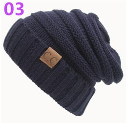 Wholesale Purple Striped Sweater - 20pcs hot sell European and American qiu dong CC pasted sweater hat, outdoor warm hat wholesale DHL free shipping