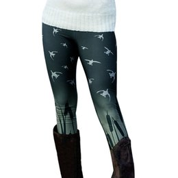 leggings bird print Coupons - 2018 New Women Spring Autumn Warm Leggings Fashion Birds Printed High Elastic Skinny Boot Trousers