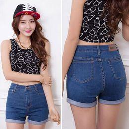 Wholesale Woman Korean Short Pants - 2017 Fashion Summer denim high waist shorts woman jeans short pants Slim Korean Casual women Jeans Shorts Plus Size