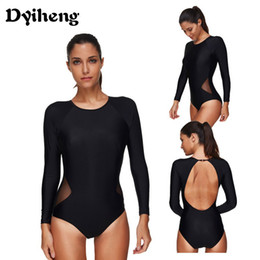 72e3e229ad34b Dyiheng Swimwear Women One Piece Swimsuit Long Sleeve Plus Size Sexy Black  Mesh Patchwork Bodysuit Bathing Suits Cut Out Swimming Suits