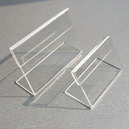 pantalla de plástico Rebajas Acrílico T1.3mm Clear Plastic Table Signo Etiqueta de Precio Etiqueta de Visualización de Papel Titulares de tarjetas Pequeños L Forma Soportes 50 unids