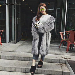 Wholesale Ladies Mink Jackets - Rabbit Faux Fur Coat Jacket Fur Women Outerwear Long Mink Fluffy Jacket Winter Overcoat Imitation Lady coats S-3XL fourrure