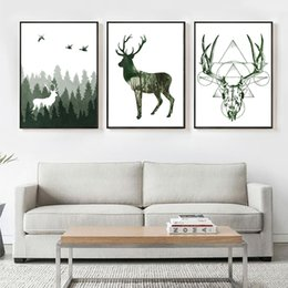 Wholesale Natural Oil Paintings Canvas - 3 paintings Nordic simple home decoration pure natural deer fashion mural wall art posters