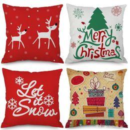 Sottili alberi di natale online-Coprisedili di Natale Festival 10 Styles Let It Snow Albero di Natale Cervi Babbo Natale Thin Linen Cotton Pillow Case 45X45cm Bedroom Decor