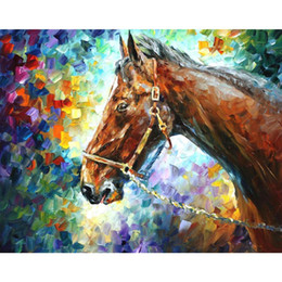 Wholesale High Quality Horse Oil Painting - Abstract art horse by Leonid Afremov modern Oil Painting Canvas High quality Hand painted