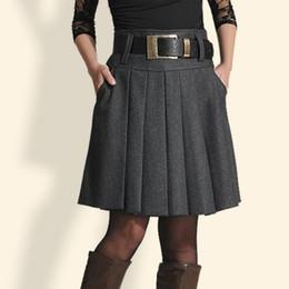 5ddc6152cd3 2018 New Autumn Winter Women Woolen Skirt Fashion High Waist Pleated Skirt  Plus Size Casual Midi Skirts Women LY186