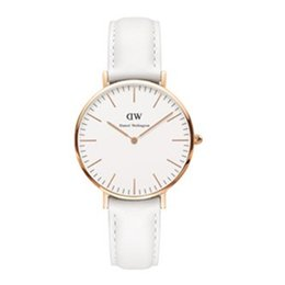 Wholesale Ladies White Leather Watch - New Arrive 40mm White Leather ladies watch Men luxury branded for women fashion watch leather brown Casual Wrist watches Gift Brand WD