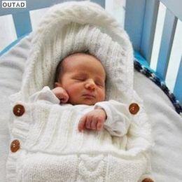 Wholesale Thick Acrylic Blankets - Newborn Baby Sleeping Bag Acrylic Fibers Hoodies Swaddle Wrap Thick Warm Baby Sleep Mat Blanket Swaddling Sweater 0-12M Infant