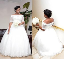 Wholesale Tulle Wedding Jacket Off Shoulder - 2018 Vintage Beaded Lace Plus Size African Wedding Dresses with Illusion Short Sleeve Jacket Ball Gowns Sequin Tulle Plus Size Bridal Gowns