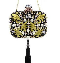 Модные бисерные сумки онлайн-Роскошные мода девушка клатч вечерние сумки черный для женщин ручной работы Алмаз ужин сумки Вышивка бисером женщины сумка wt1727