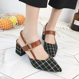 Retro Chic Single Shoes Women 2019 Female New Spring Summer Rough Sharp  Pointed Toe High Heel Shoes Sandals Women s Footwear discount chic high  heels 6540668cd6f4