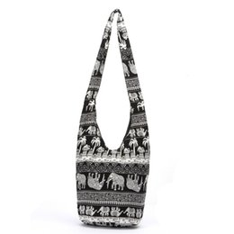 Wholesale Cotton Printed Sling Bag - Fashion Bags Cross Body Elephant Sling Crossbody Shoulder Bag Purse Thai Top Zip Handmade New Color Black Lady Shopping Creative Bags