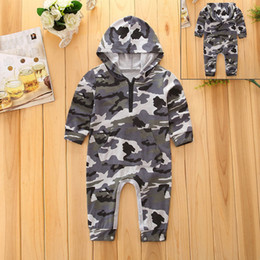 Wholesale Long Sleeve New Baby Bodysuit - NEW HOT SALES Autumn fashion hooded Camouflage romper infants baby kids long sleeve jumpsuit bodysuit for 0-24m