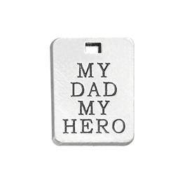 Tag argentati online-Charms in lega di placcatura in argento anticato Charms My Dad My Hero Charms in ciondolo messaggio Tag per cani Charms per regali festa del papà AAC904