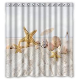 custom print shower curtain Promo Codes - NANAZ Unique Starfish sea shell  beach Shower Curtain Custom 9247f9daf0f8