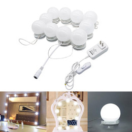 Wholesale fixture table - LED Vanity Mirror Lights Kit Style Makeup Mirror Lights 10 Led Bulbs Fixture Strip for Makeup Vanity Table Set Dimmer Power Supply