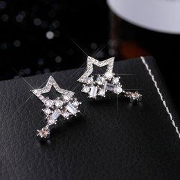 Wholesale Ear Drops Earrings Diamonds - The simple personality of the pentagonal drops zircon ear earrings S925 sterling silver new anti-allergic earrings.