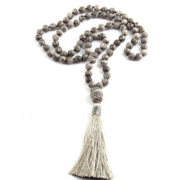 Wholesale Tribal Tassels Wholesale - whole saleFashion Bohemian Tribal Jewelry Gray Stones Beads Knotted Fashion Tassel Necklaces For Women Ethnic Necklace