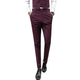 pantalons de vin hommes de mode Promotion Mode 2018 Pantalon Hombre Marque Nouveau Casual Hommes Pantalons Vin Rouge Solide Slim Fit Pantalons Hommes Costume De Mariage Pantalon Robe Tuxedo 33