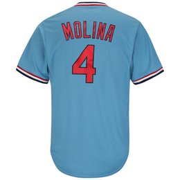 Wholesale Molina Baseball - Men's#4 Yadier Molina Light Blue Alternate Cool Base Cooperstown Collection Player Jersey