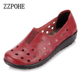 Mulheres grávidas couro on-line-ZZPOHE verão mãe sandálias inclinação confortável sapatos de sola macia mulheres grávidas idosos sandálias flat mulher sapatos baixos de couro