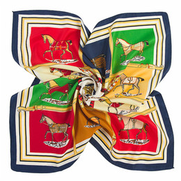 Wholesale Thin Silk Scarves - Scarf For women Luxury horse printing Pattern 100% silk Designer Thin Scarfs fashion women Scarves 5 color chose Size 60X60CM B-1352