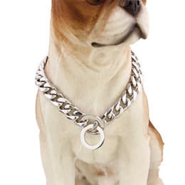 Wholesale mirror necklaces - Stainless Steel P Chain Mirror Polishing Dog Collars For Walk The Dogs Necklace Outdoor Pet Supplies Factory Direct Sale 32tg X