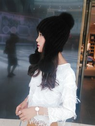 Wholesale Ladies Mink Hats - real Fur mink hats earmuffs ladies hats winter warm stretch hat