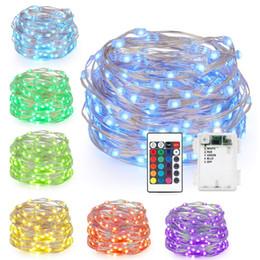 le luci fiabesche cambiano il colore Sconti Fata a LED Luci a batteria multi colore che cambia le luci con telecomando a 50 LED Luci decorative per esterni da interno per Natale