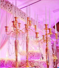 Свадьба Оптовая продажа серебро/золото металл подсвечник 5-руки свеча стенд свадебный подсвечник канделябры груза падения от