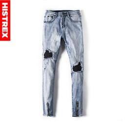 871f5747fc pantalones Rebajas HISTREX Mens Jeans Stretch Jean Rodilla Biker Ripped  Skinny Frayed Zipper Hem Hiphop Moda