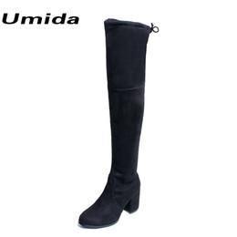 Deutschland Umida Marke Slim Damen Stiefel Mode Overknee Wildleder Stiefel für Damenschuhe Real Schaffell High Heels Stiefel Oberschenkel Hohe Schuhe Versorgung