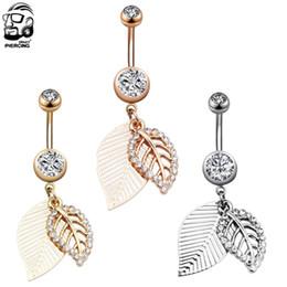Canada 1 PC En Acier Chirurgical Piercings Feuille 14 G Navel Piercing Ventre Piercings Ventre Bouton Piercing Dangle Earrings Bijoux De Corps Pour Le Cadeau cheap surgical earrings Offre