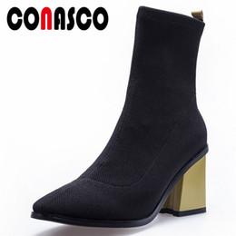 CONASCO Fashion Stretch Stivaletti da donna Tacchi alti Night Club Party Shoes  Donna Sexy calze a punta stivali Stivali da donna Basic Boot 46e4a9c38ec