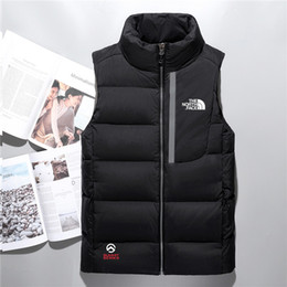 Wholesale duck vest xl - Hot 2018 men down jacket North vest Male Sports Jackets Bomber Collar Zippers Outdoor face Coats