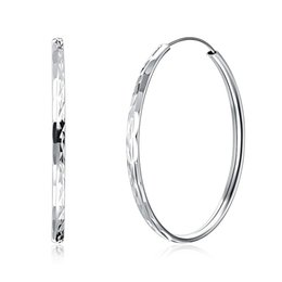 e86e306e5 Fashion Real 925 Sterling Silver Big Hoop Earrings Circle for Women Trendy  Round Pure Silver Earrings Jewelry