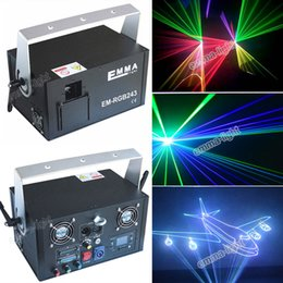 Wholesale Animation Stage Lighting - DHL RGB 2000mw 2W full color animation laser Stage Lighting ilda 30-40kpps Red 635nm Beam Disco laser