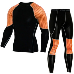Wholesale Tight Mens Suit - mens fitness tight tShirts pants Sports suits quick dry breathable moisture running gym clothing long sleeve tight training sets