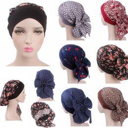 Wholesale woman cotton head scarf - 6 Colors Women Flower Print Head Scarf Floral Dot Chemo Hat Turban Headwear Bandana Cancer Cap Hijab AAA696
