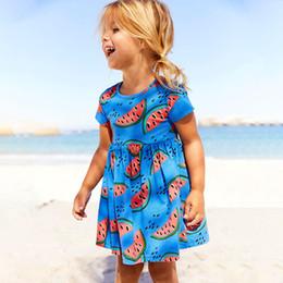Canada Robes pour filles Coton Manches Courtes Sundresses Pastèque Imprimer Marque Enfants Bébé Vêtements Enfant Robes D'été Vêtements 18 M-6 T 2018 cheap watermelon dress baby girls Offre
