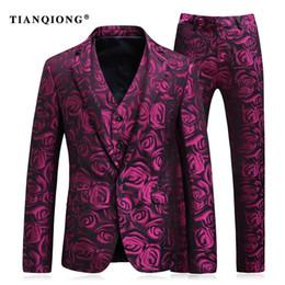 Wholesale Men S Prom Dresses - TIAN QIONG Wine Red Men Stylish Floral Print Wedding Dress Suit Slim Fit Prom Mens Suits Designers with Pants(Blazer+Pants+Vest)