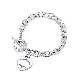 Wholesale sterling silver pendant clasp - 2018 New arrival S925 Sterling Silver and brand name heart pendant bracelet with OL clasp for women wedding gift jewelry PS6298