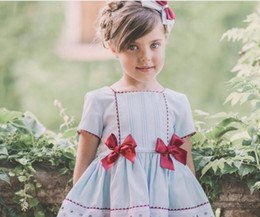 Wholesale dress dhl - DHL free High quality Spain style baby girl dress square collar short sleeve princess dress Birthday dress 2-6T