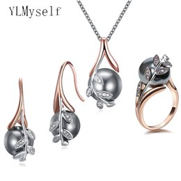 Wholesale grey pearls set - Big discount sale Pendant Necklace Earrings ring 3pcs sets Rose gold plate Grey pearl & cubic zircon Trendy leaf jewelry set