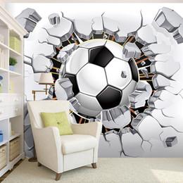 blocs en bois anciens Promotion Personnalisé Mur Papier Peint Papier Peint 3D Football Sport Art Créatif Peinture Murale Livingroom Chambre TV Fond Photo Papier Peint Football