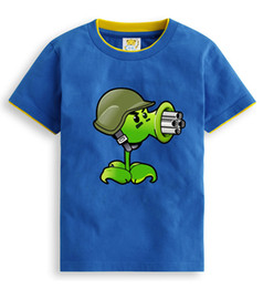 Wholesale Summer Children Cartoon Tees - 2018 Kids Spring Autumn Winter Summer Plants Vs Zombies Short Sleeve Cotton Boys Cartoon T Shirt Children Clothes Girls Tees Tops